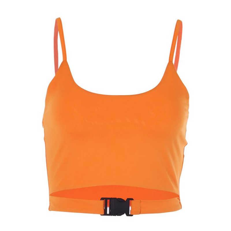 נשים גופיות קיץ Neno אבזם ללא משענת שרוולים להחליק כושר Jogger בסיסי רצועת חולצות חולצות Mujer Verano 2019 חולצה