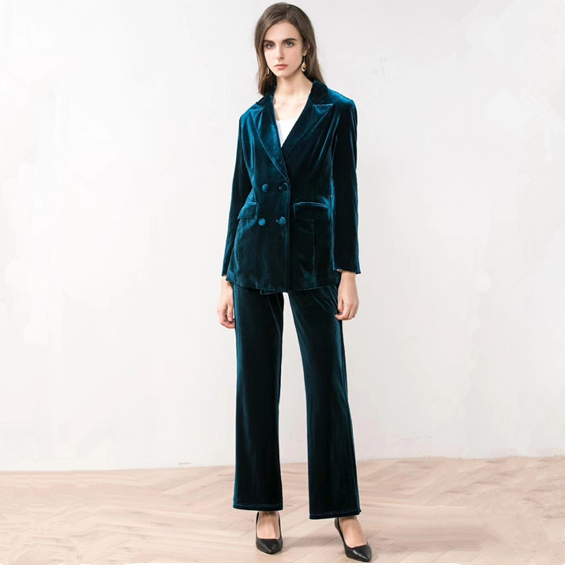 17.1 109.99,,Chic Blue Velvet Double Breasts Velvet Blazer Woman Suits Double Pockets Turn Down Collar V-Neck Jacket Notched Tops