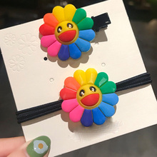 Childrens hair girl sunflower hairpin plastic Silica gel Hair Clip Candy Color ring Duckbill & Elastic Band