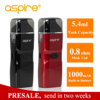 Presale Aspire Breeze NXT Vape Kit 5.4ml Capacity Pod Tank 0.8ohm Mesh Coil Built in 1000mah battery Electronic Cigarette Kit