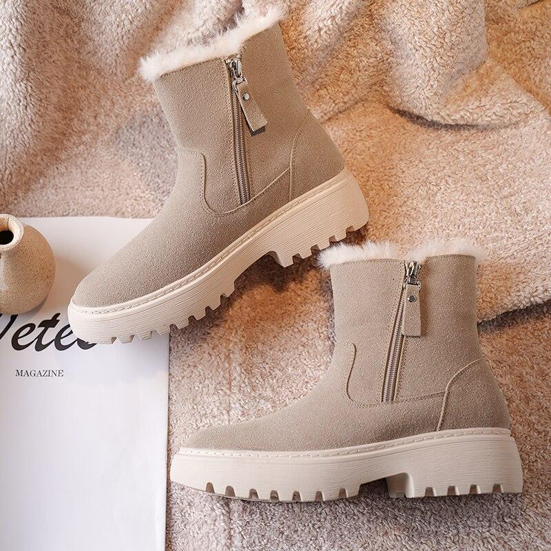 Купить женские ботинки на платформе зимняя теплая плюшевая женская