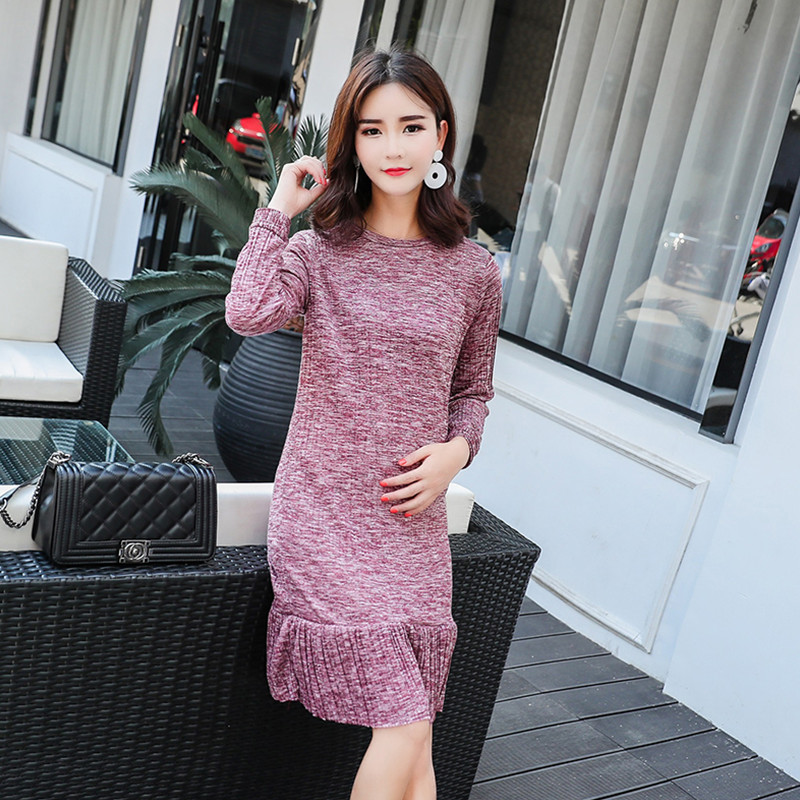 Maternity Long Dresses 2019 Autumn Winter Cotton Dresses For Pregnancy Women Long Sleeve Pregnant Skirt Maternity Clothes C0105 in Dresses from Mother Kids