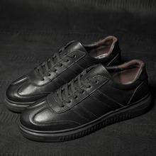 Men Leather Casual Shoes Classic Fashion Male Lace Up Flats Black Gentlemen's Leather Casual Trainers 2018 genuine leather shoes casual lace up business flats spring black solid shoes luxury trainers summer male adult shoes