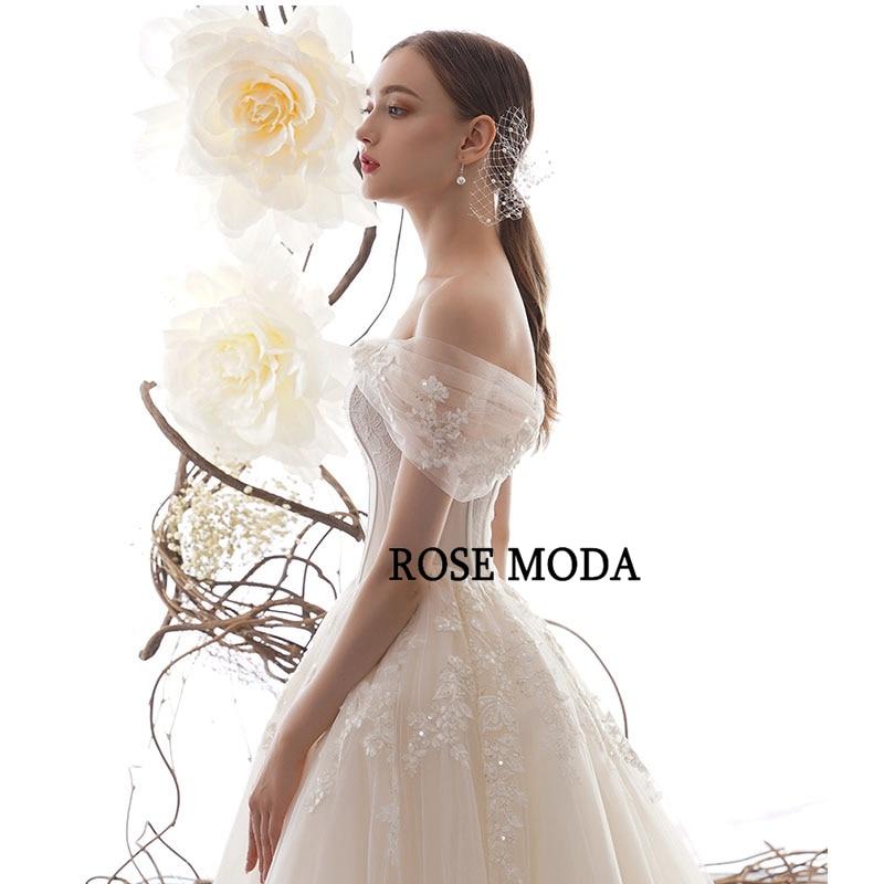 Image 2 - Rose Moda Off Shoulder Lace Wedding Dress 2020 Lace Up Back Custom MakeWedding Dresses   -