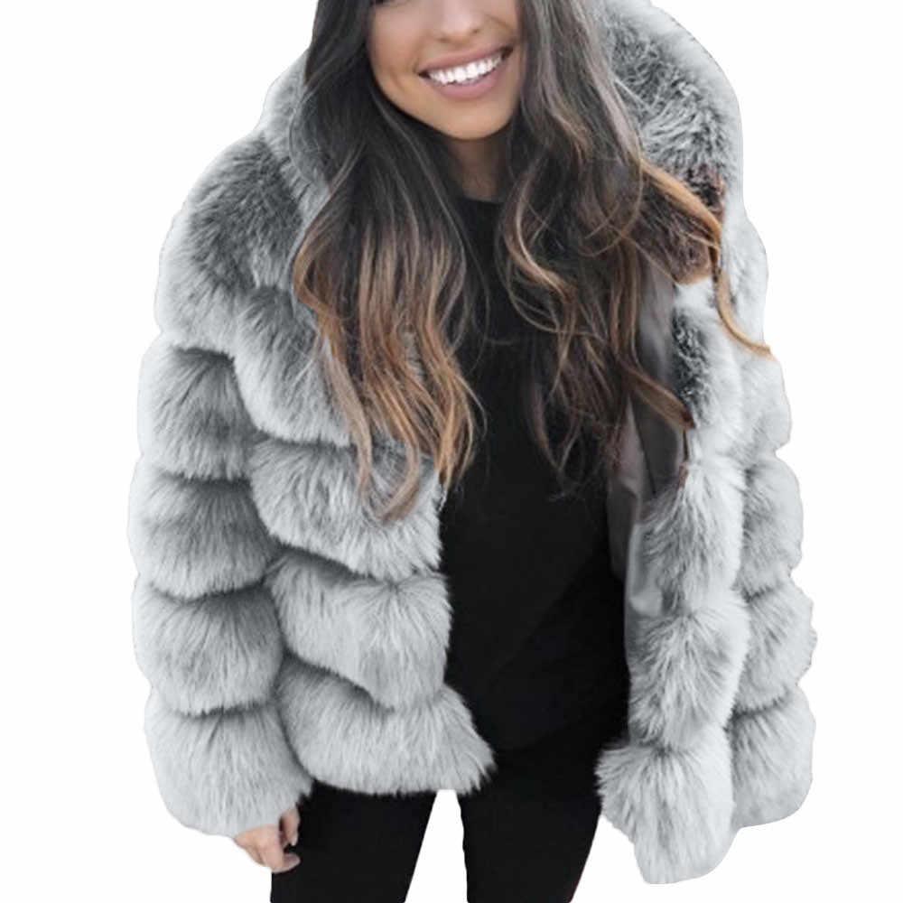 Kadın Faux vizon kış kapşonlu yeni Faux kürk ceket sıcak kalın dış giyim ceket zarif kalın sıcak giyim sahte kürk ceket