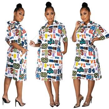 2020 Autumn Women Fashion Dresses Hooded Casual Loose Number Letter Printed Half Sleeve midi Dress Female Streetwear Vestido qweek korean dress for women short sleeve midi black dress women summer 2020 fashion streetwear vestido casual mujer dress