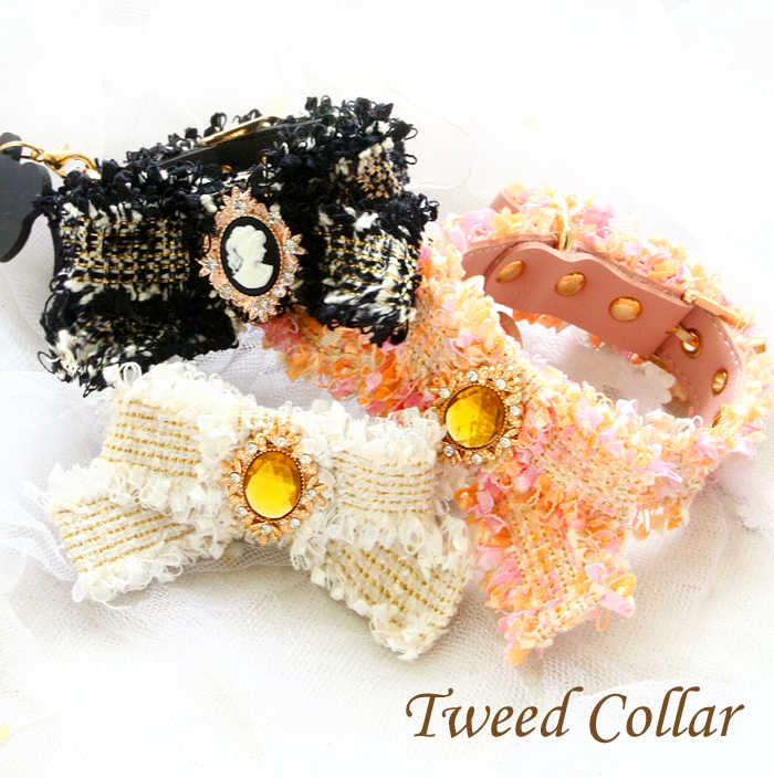 Free shipping dog collar classical Ch**el style tweed Vintage Bow pet necklace dog accessories