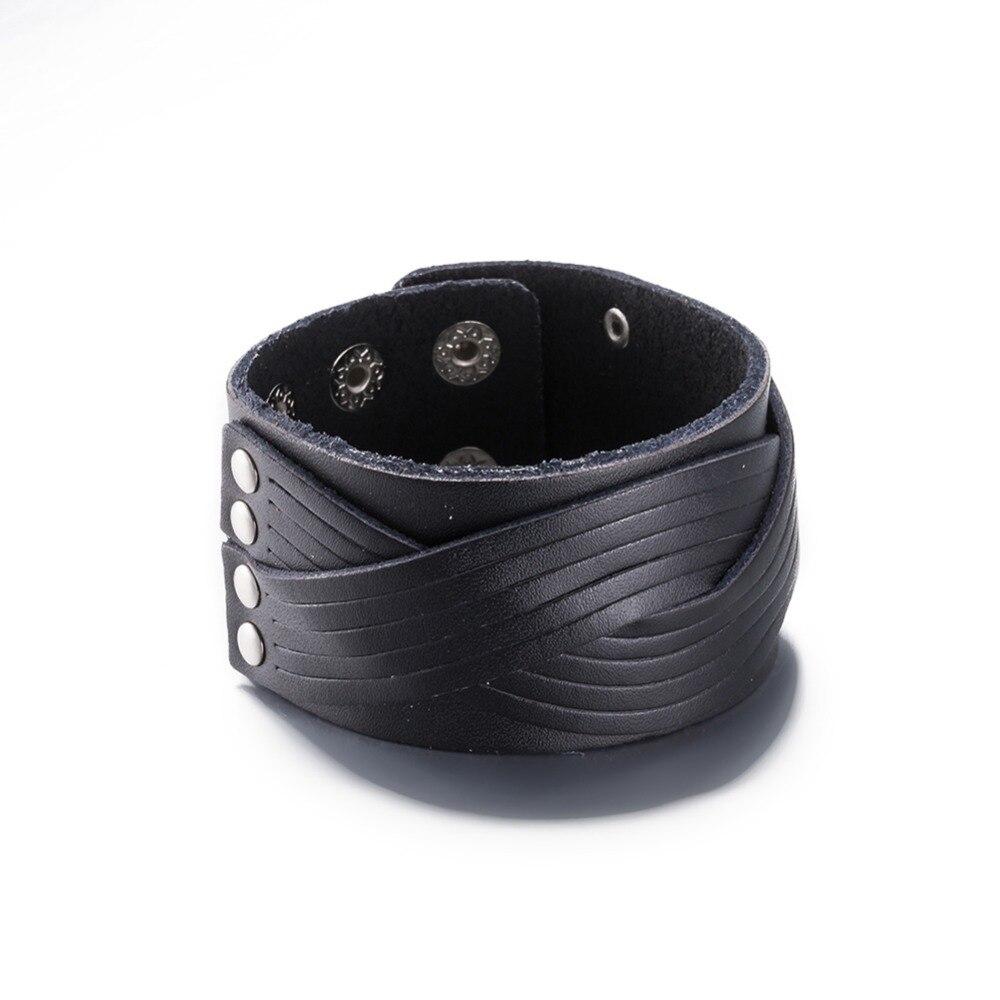 NB25 Bracelet large en cuir véritable unisexe pour homme et femme bijoux de qualité supérieure