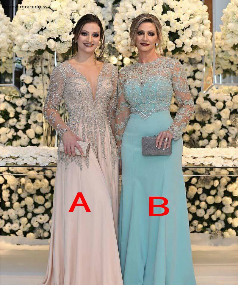 Luxurious Beaded Sequins Appliques Plus Size Mermaid Mother Dresses Sheer Long Sleeves Jewel Neck Formal Evening Prom Gowns Celebrity Dress  159 (5)