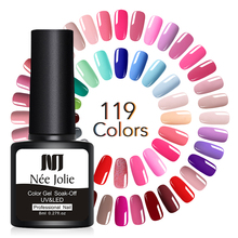 NEE JOLIE 8ml Solid-color Nail Gel Polish Black White Red Series Soak Off UV Varnish LED Lamp Needed