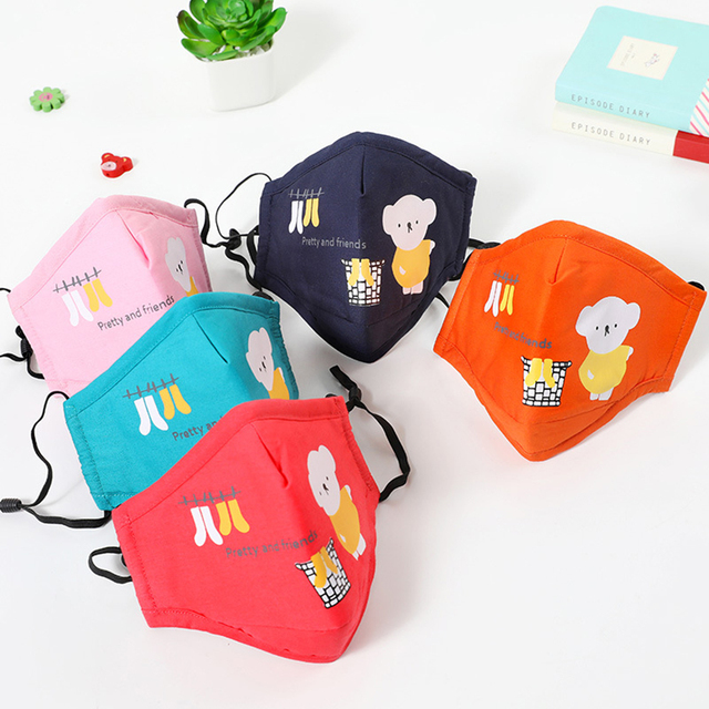 Kids Children Cotton Anti-Dust Face Mouth Mask Cartoon PM2.5 Protective Respirator Reusable Anti Fog Anti Flu Masks with Filters 2