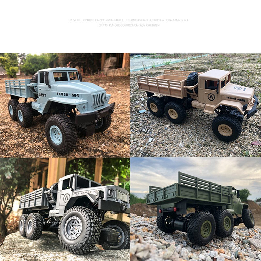 1:16 High Speed <font><b>RC</b></font> Car Military <font><b>Truck</b></font> 2.4G Six-<font><b>wheel</b></font> Remote Control Off-road Climbing Vehicle Model Toy for Kids Birthday Gift image