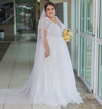 Plus Size Wedding Dress A-Line V-Neck Short Sleeve Chiffon Floor Length Bridal Gowns Brilliant Big Women Court Train Gorgeous