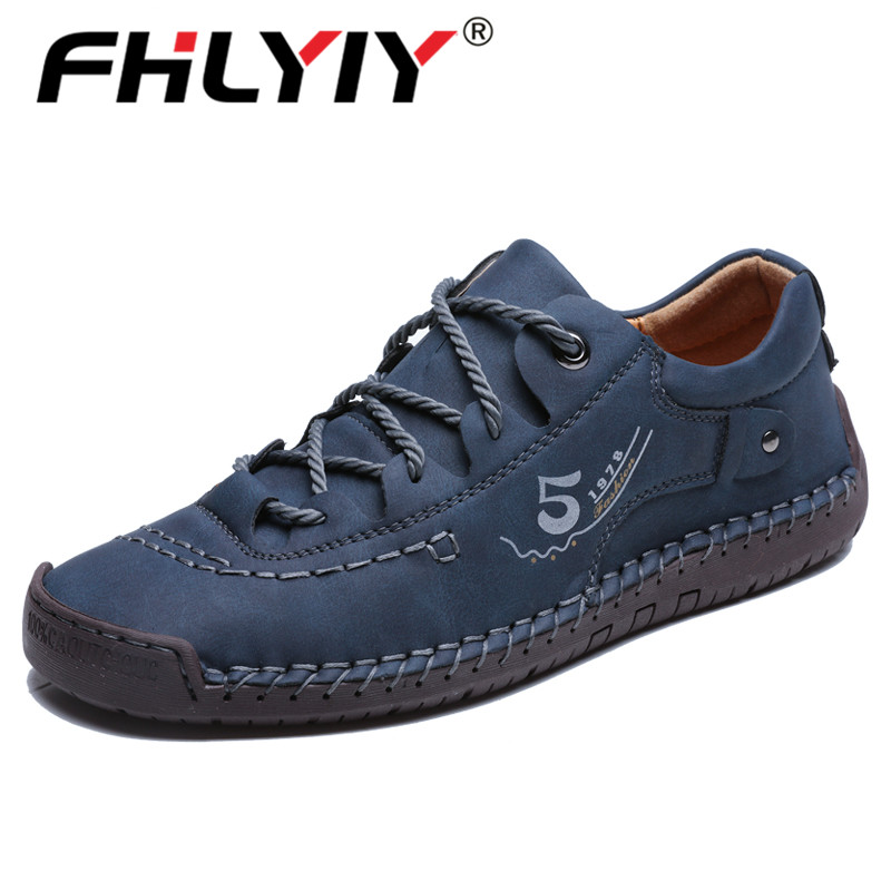 Fhlyiy Brand Men Shoes Leather Flats Lace-up Men's Luxury Shoes High Quality Comfortable Men's Spring Footwear Plus Size 48