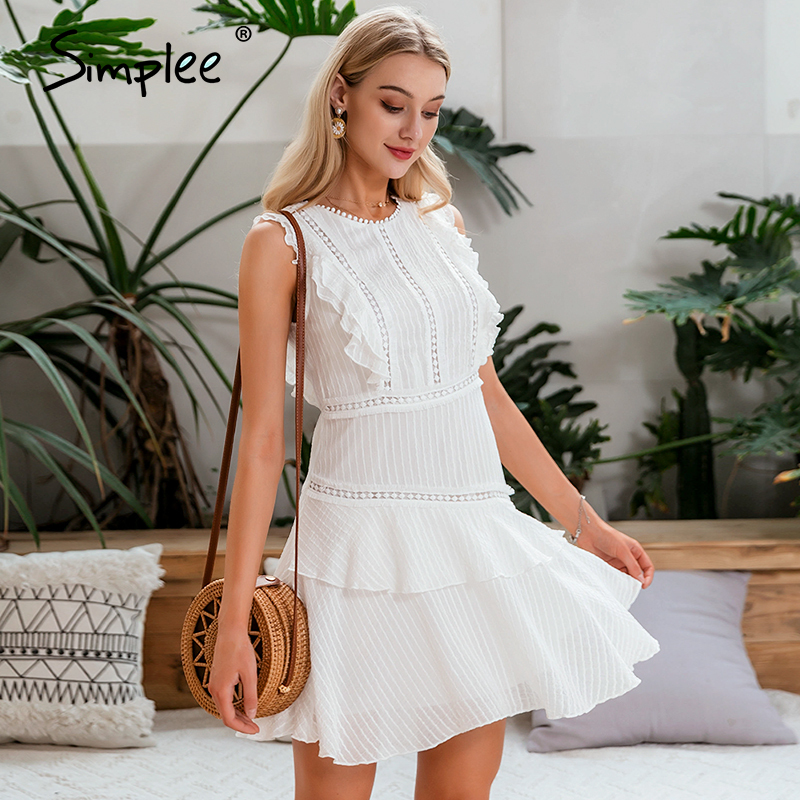 Simplee Hollow out women dress Sleeveless ruffled solid lace holiday summer dress O-neck striped ruched bodycon mini dress 2020