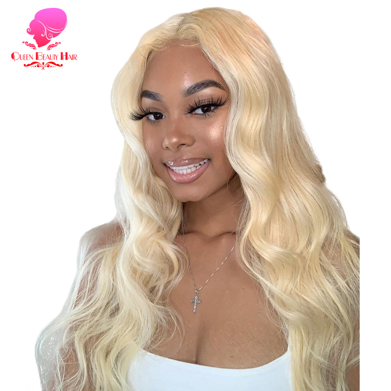 QUEEN BEAUTY 613 Honey Blonde Pre Plucked Full Lace Human Hair Wigs 1B 613 Ombre Remy Brazilian Body Wave Glueless Full Lace Wig(China)