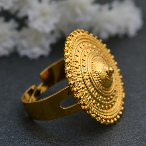 Image 3 - Wando Ethiopian Ring Gold Color round coin Rings for Women Eritrean African Fashion Wedding Ring Middle East Arab Jewelry