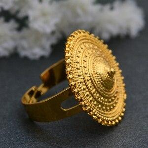 Image 3 - Wando anillo etíope de Color dorado para mujer, anillos redondos con monedas para mujer, sortija de boda de Moda Africana de Arabia de Oriente Medio