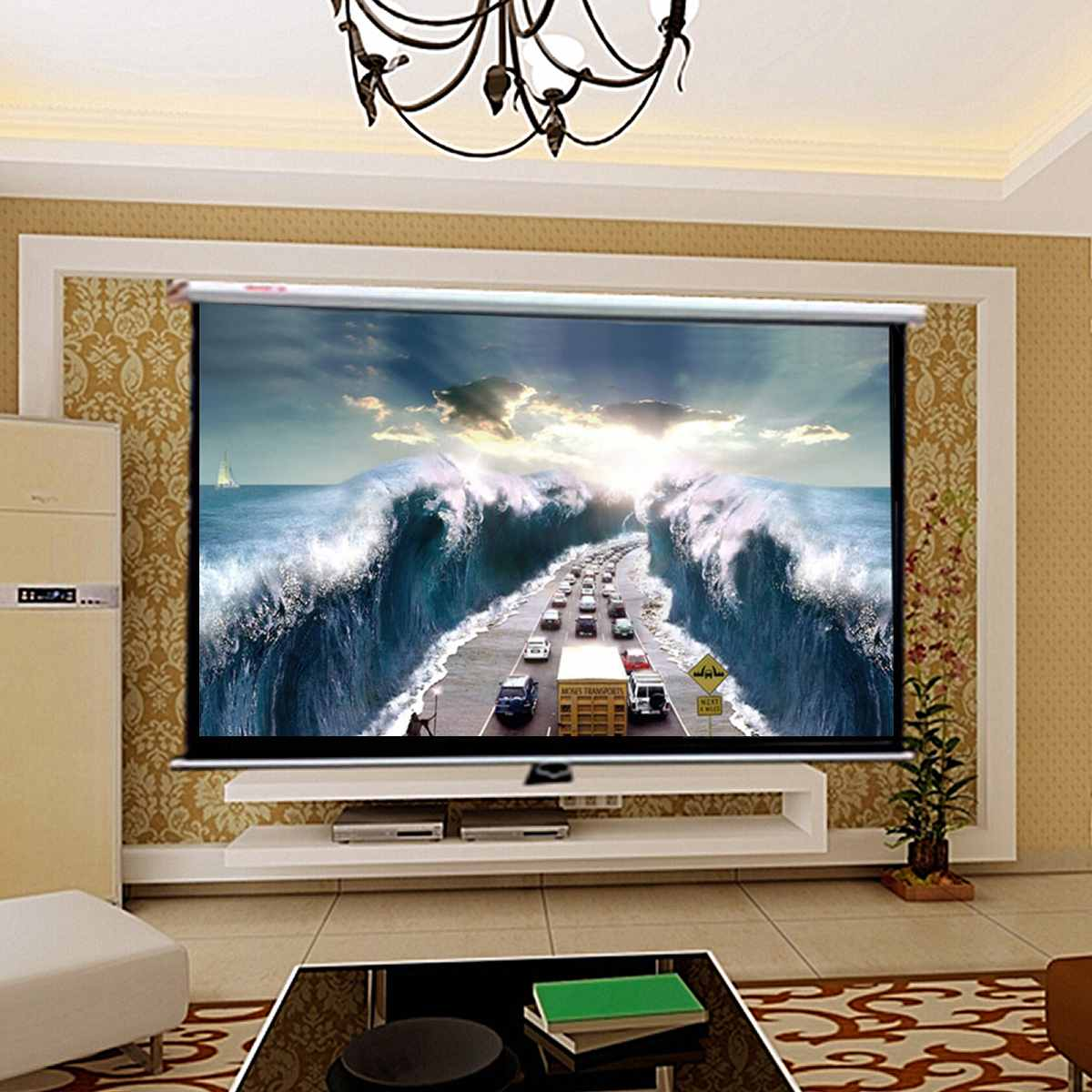 16:9 120 Inch Projector HD Screen Canva Front Home Theatre Projection Screen Movie Projector Screen High Brightness Foldable