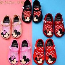 Детская обувь; Новинка года; летняя модная мягкая прозрачная обувь для девочек; сандалии из пвх на пуговицах с изображением милой Минни-бабочки