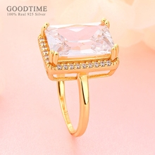 Luxury Ring For Women Pure 100% 925 Sterling Silver Ring Gol