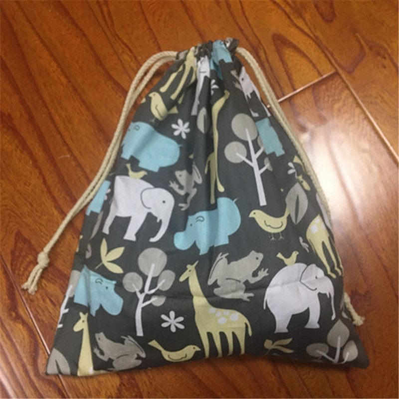 1pc Cotton Twill Drawstring Pouch Party Gift Bag Forest Animals Black Base YL2033a