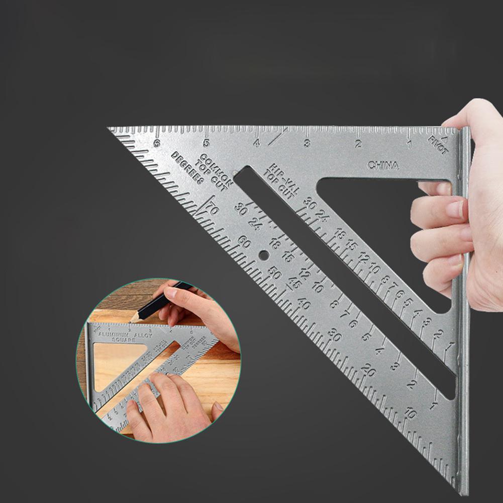 알루미늄 합금 삼각형 규칙 카펜터 측정 눈금자 90도 짙어지기 각도 규칙 측정 도구 목공