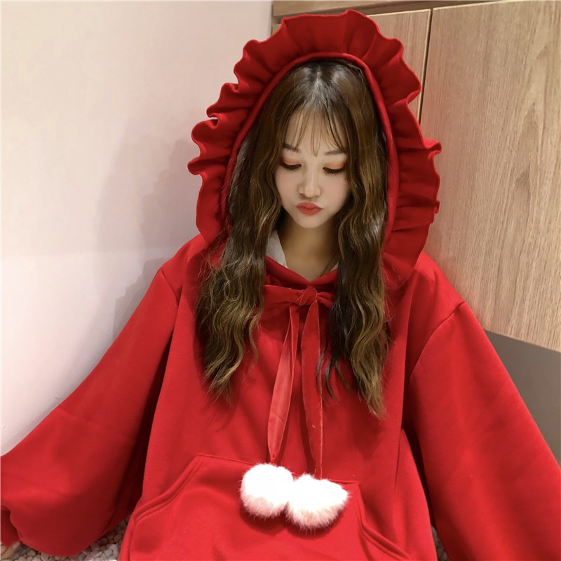 Autumn Winter Fashion Sweatshirts Women Sweatshirt Ruffles Long Sleeve Hoodie Jumper Drawstring Plush Ball Hooded Pullover Bow