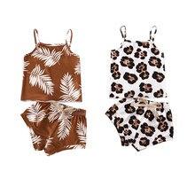 0-24m bonito da criança infantil do bebê meninos meninas conjuntos de roupas verão leopardo impressão sem mangas colete shorts 2 pçs outfit