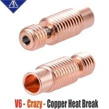 Mellow all-metal nf V6-Crazy calor quebrar cobre & aço inoxidável bocal da impressora 3d garganta para 1.75mm e3d v6 hotend aquecedor bloco