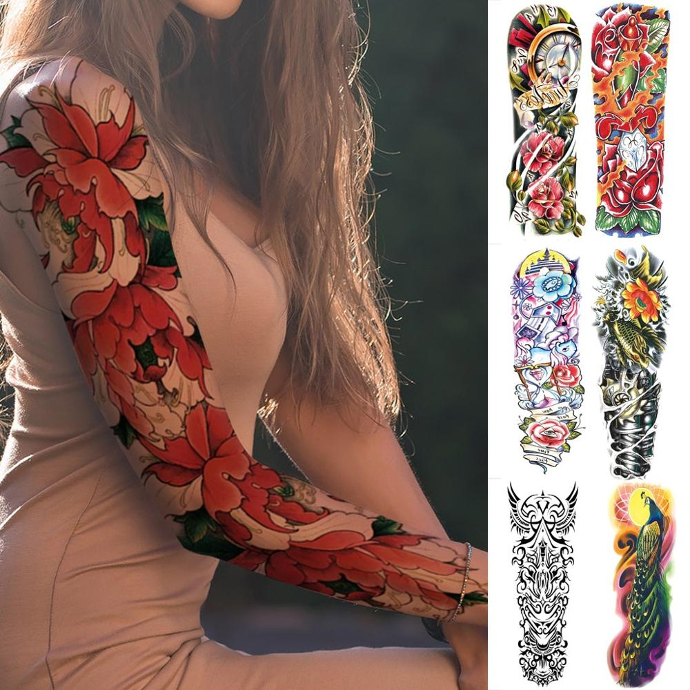 Vogue Tattoo Sleeve Stickers Men Women Cool Nightclub Style Tattoo Arm Sleeves Mouw Ophouders Arm Sleeve Women #TN28