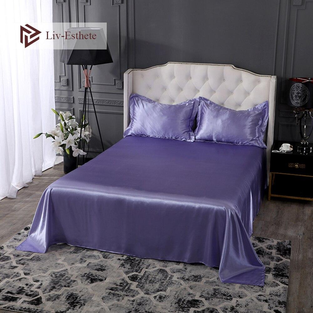Liv-esthete luxe 100% soie lilas drap plat soyeux taie d'oreiller simple Double reine roi drap de lit sain sommeil linge de lit ensemble