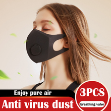New 3PCS/Lot Sponge Dust Masks Respirator Mask anti virus with Breath Valve Anti-Dust Anti Pollution Face Mouth Mask Breathable