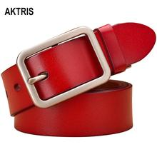 AKTRIS Womens All-match Retro Real Cow Genuine Leather Belts Simple Square Buckle Metal Belt for Women Jeans FCO091