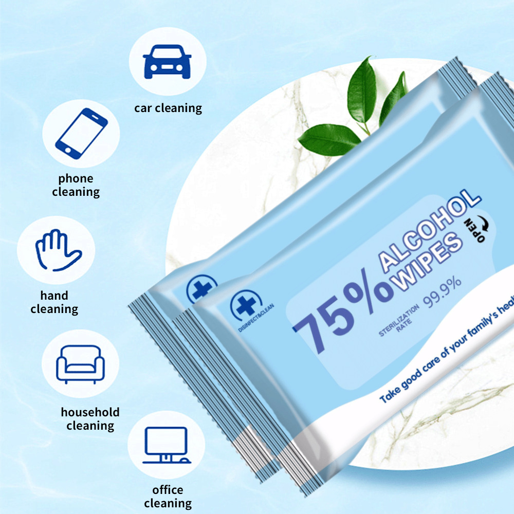 10Pices5Bags Alcoholgel Disinfecting Wipes Antibacterial Tools Ethyl Alcohol Pads Easy Cleaning Skin Care Sterilization