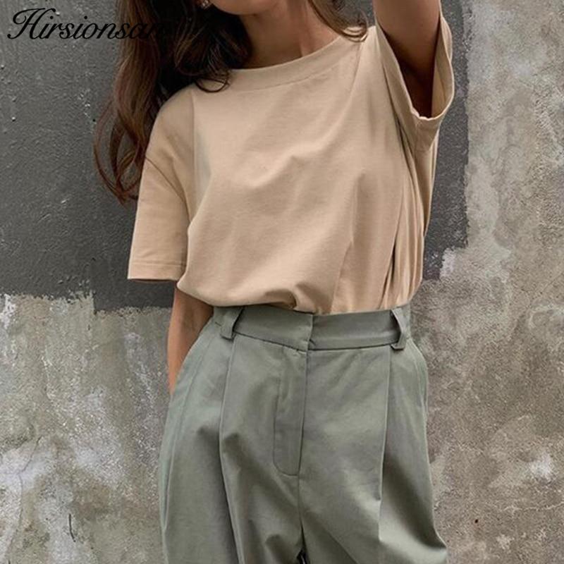 Hirsionsan Grundlegende Baumwolle T Shirt Frauen Sommer Neue Übergroßen Solide Tees 7 Farbe Beiläufige Lose T-shirt Korean O Hals Weiblich tops