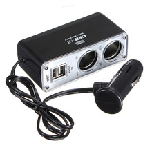 High Quality 2 Way Car Cigarette Lighter Socket Splitter Charger Power Adapter DC+USB Port Plug 12V-24V(China)