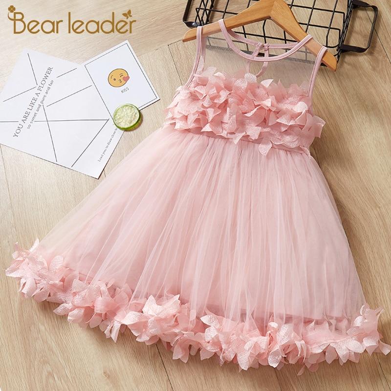 Bear Leader Girls Dress 2020 New Baby Girl Dress Lapel Sleeveless Tank Top Striped Dress Girls Embroidery Dress For 2-6Y