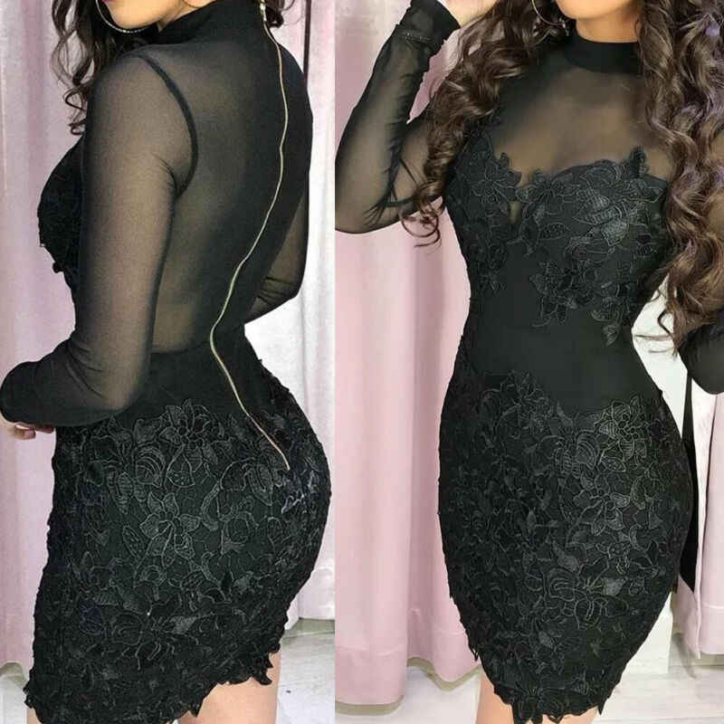 Vrouwen Bandage Bodycon See Through Lange Mouwen Coltrui Avond Party Club Wear Korte Mini Slim Potlood Jurk Nieuwe