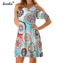 LISALA Women Summer Dresses Sexy Cold Shoulder Floral Printed Beach Dress 2XL