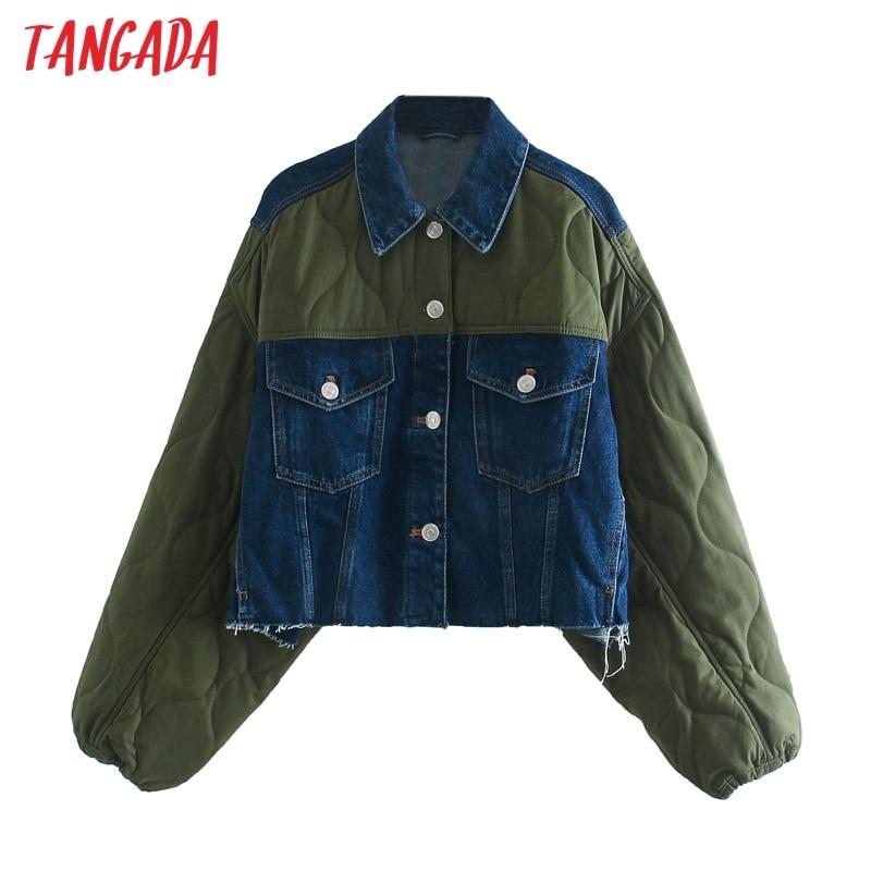 Tangada-Chaqueta de retales vaquera de gran tamaño para mujer, chaqueta holgada con bolsillos y cremallera para otoño e invierno, 3L23, 2020