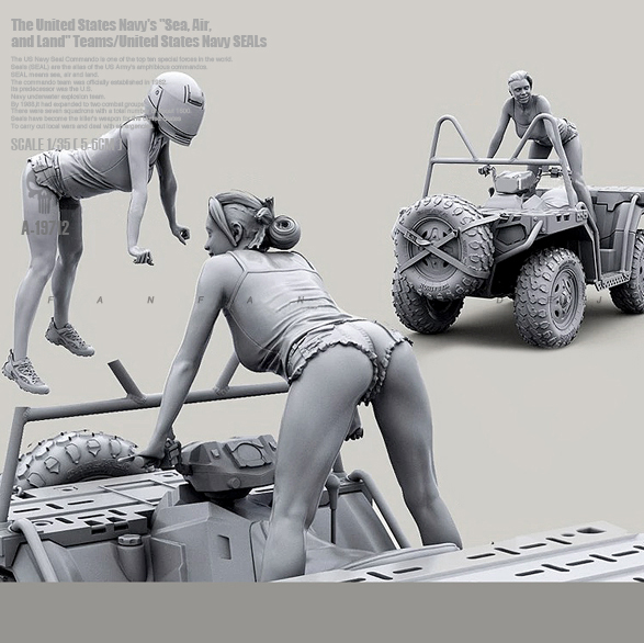 1/35 Resin Kits Beautiful Terrain Car Female Rider Resin Soldier Self-asssembled A-19712