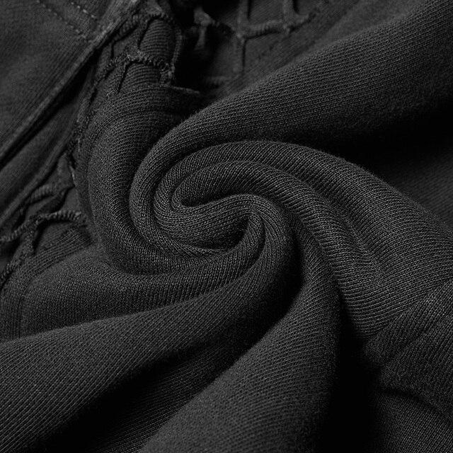 PUNK RAVE Mens Punk Rock Black Knit Trousers Casual Mens Streetwear Big Pocket Long Punk Personality Cross Pants 5