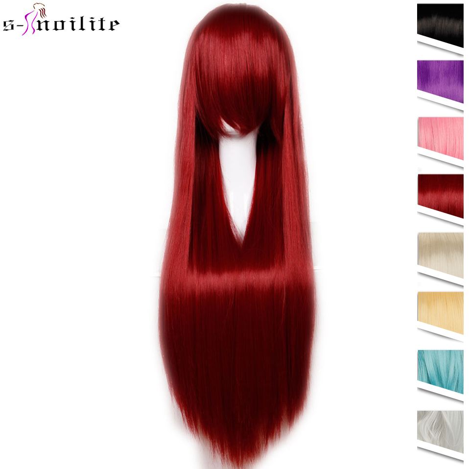 SNOILITE 80cm Long Synthetic Anime Hair Wig For Women Heat Resistant Fiber Hairpiece Pink Red Purple Straight Party Cosplay Wigs