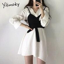 Yitimoky camisa vestido para mulher 2021 verão estilo coreano roupas chique moda elegante manga longa solta turn-down colarinho novo