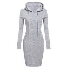 Autumn Women Hoodies Sweatshirt Dress Casual Warm Hooded Pockets Pullover Long Sleeve Female Loose Solid Vestidos
