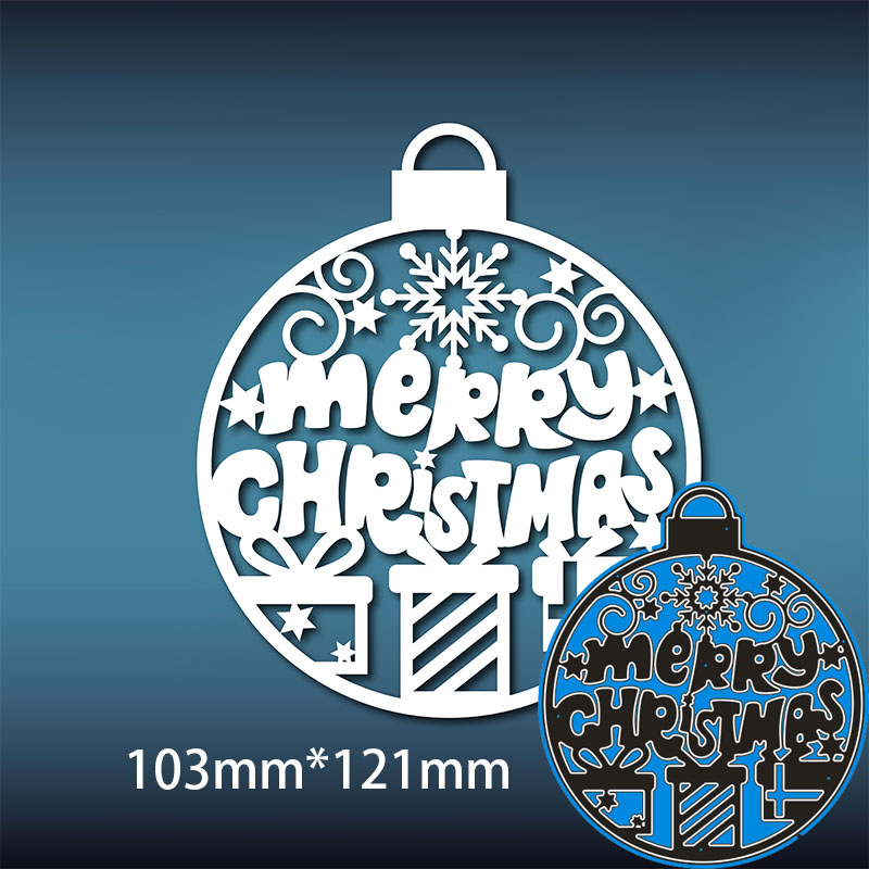 103*121mm Merry Christmas Ball New Metal Cutting Dies Scrapbook Paper Decoration Template Embossing DIY Paper Card Craft