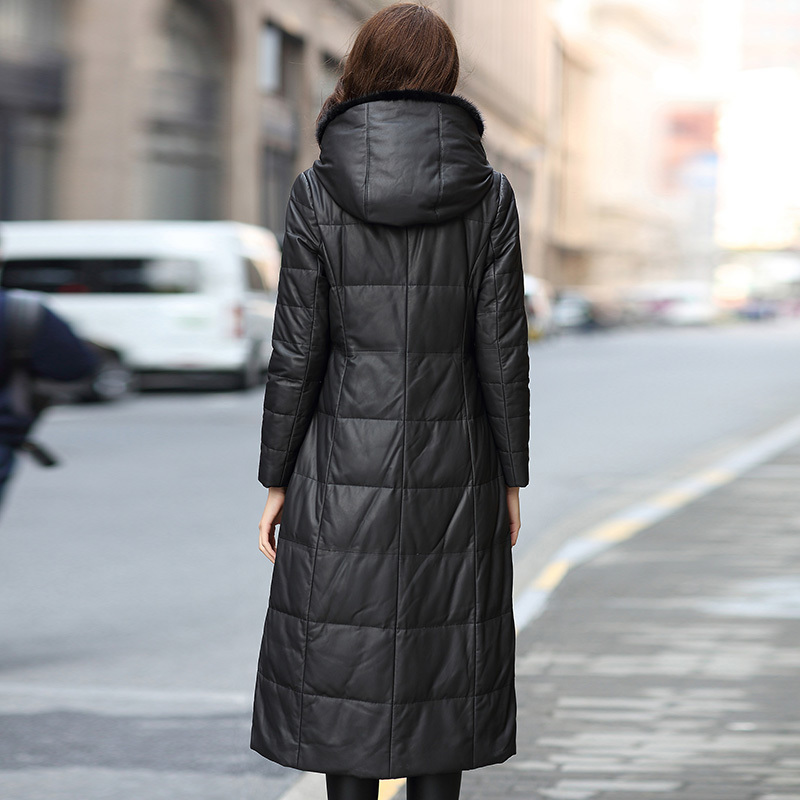 Down Women Jackets Real Sheepskin Coat Long Winter Warm Genuine Leather Jacket Hooded Mink Fur Trim Manteau Femme 18399B