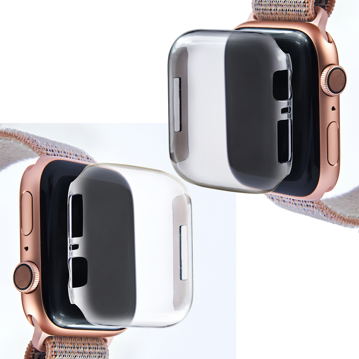 Besegad Fashion Transparent Anti-fall Shockproof Soft TPU Protective Case Cover for Apple Watch iWatch 4 40mm 44mm Accessories