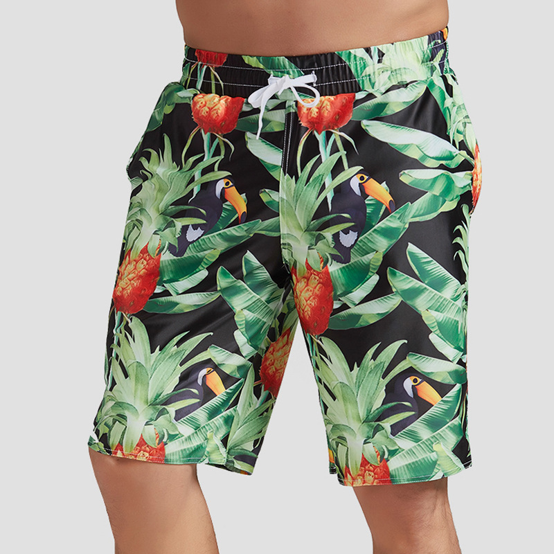 2019 Men's Quick-Dry Beach Shorts Seaside Holiday Loose-Fit Short Large Size Flower Pants Trend Shorts Youth Shorts